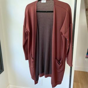 SIGNATURE maroon cardigan duster with pockets